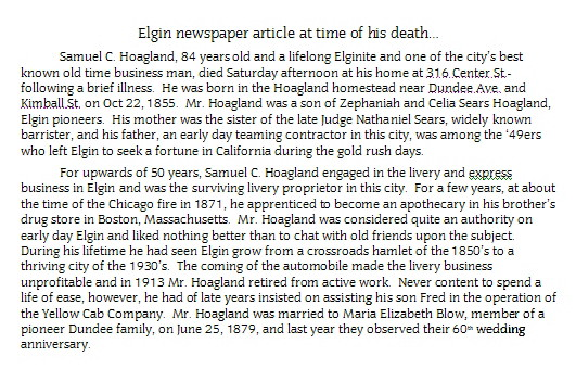 Sam Hoagland Death Notice Transcribed by Helen Hoagland-his granddaughter