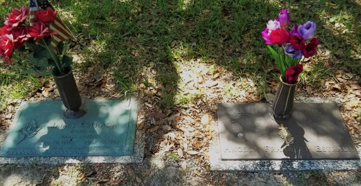 Gravesites for James Estrada and Angela (Franquet) Estrada-Southern Memorial Park-Biloxi, Harrison County, Mississippi