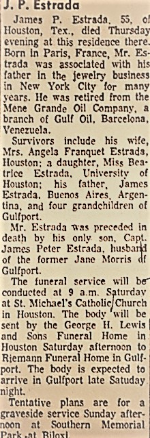 Obit for James Peter Estrada (1908-1967)