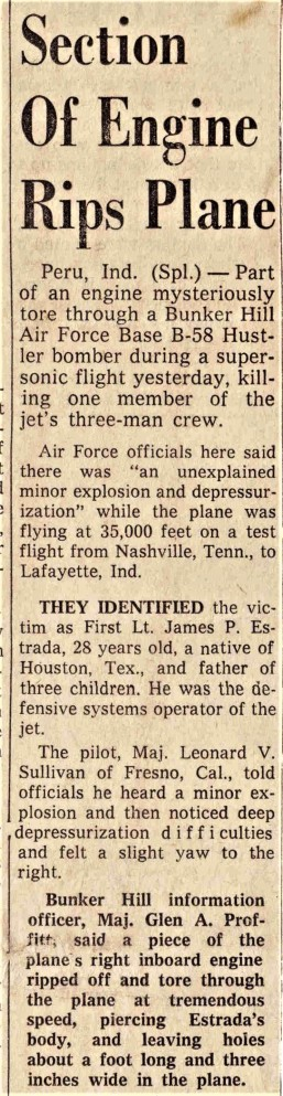1962-Jul Unknown Sourced Newspaper Article-Section of Engine Rips Plane from Mrs. Burch 1