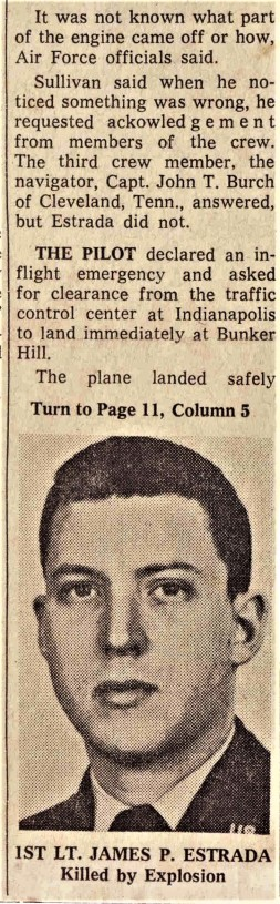 1962-Jul Unknown Sourced Newspaper Article-Section of Engine Rips Plane from Mrs. Burch 2