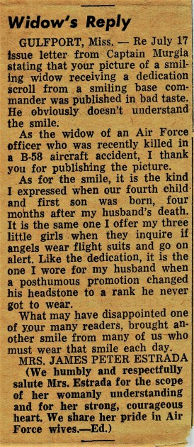 1962 July Unknown Newspaper-USAF Widow's Reply