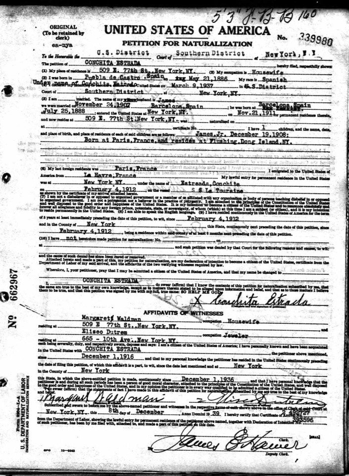 Naturalization Papers for Conchita (Torres) Estrada
