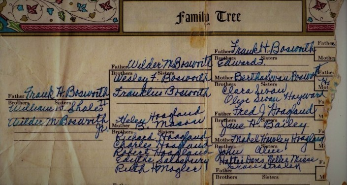 Bosworth-Hoagland Family Tree Written on Bible Page